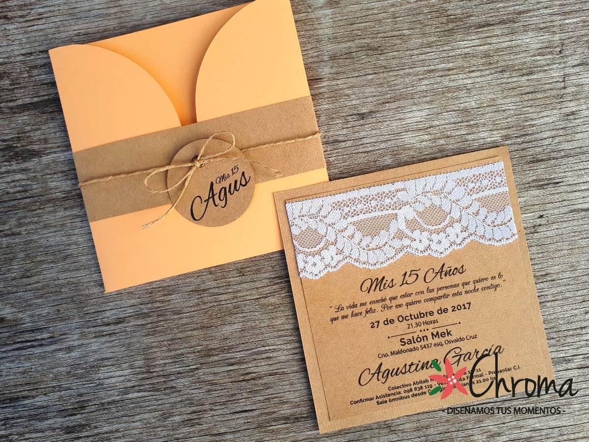 Tarjeta Invitación 15 Años Boda Casamiento Rustica Kraft