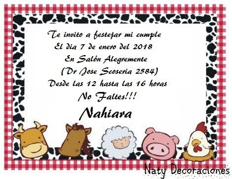 Tarjeta Invitación Animales De La Granja