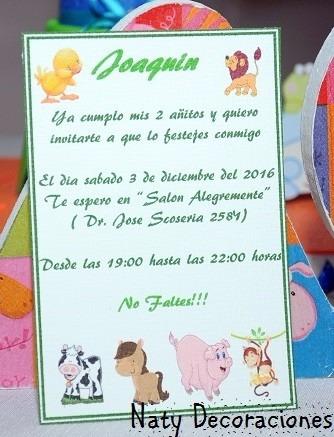 Tarjeta Invitacion Animales De La Granja