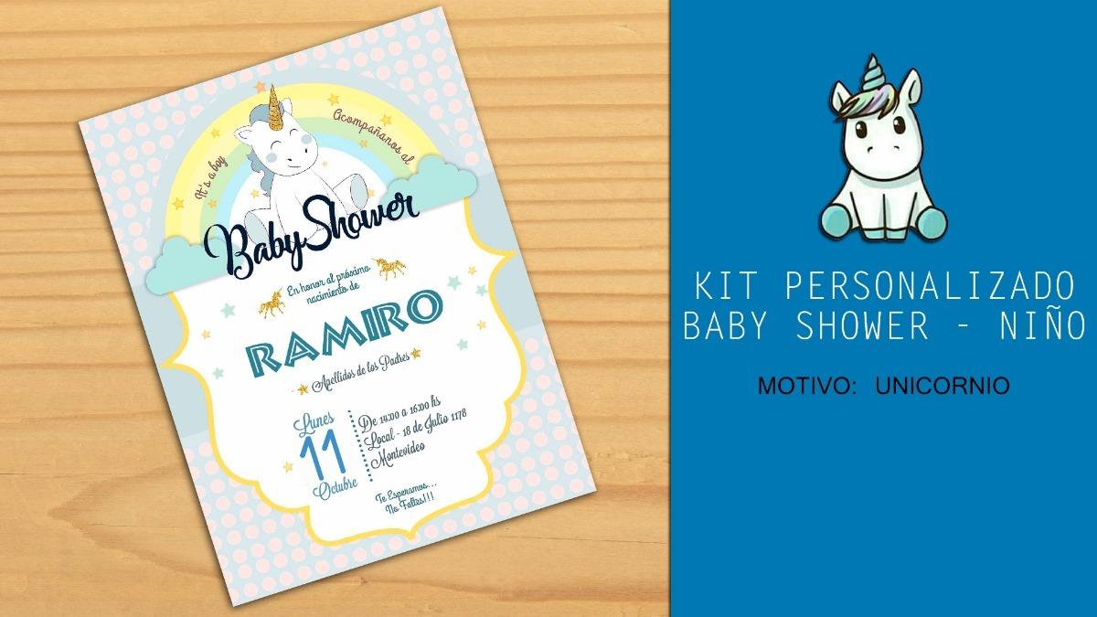 Tarjeta Invitacion Baby Shower Unicornio Niña Niño
