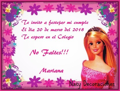 Tarjeta Invitacion Barbie