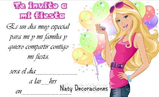 Tarjeta Invitacion Barbie Modelo 1