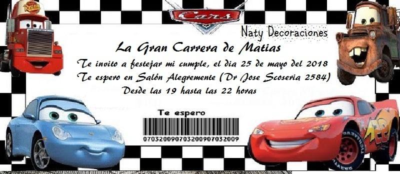 Tarjeta Invitacion Cars Modelo 3
