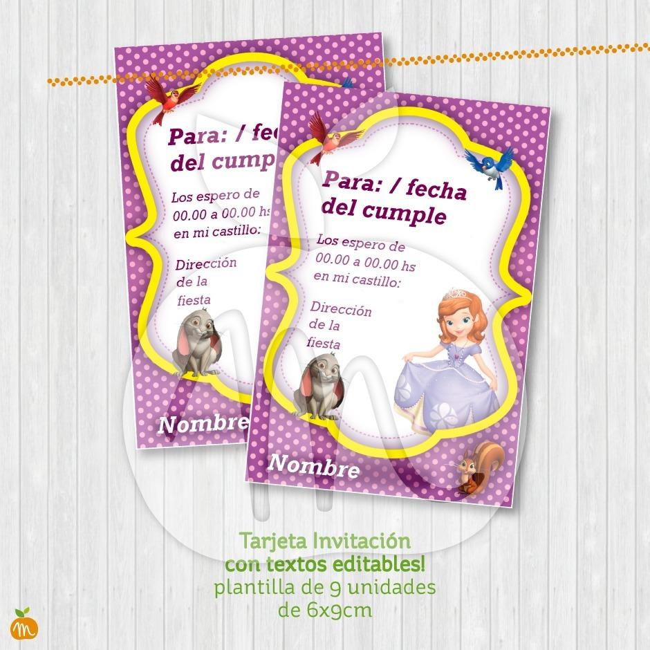Tarjeta Invitación Con Textos Editables Princesa Sofía