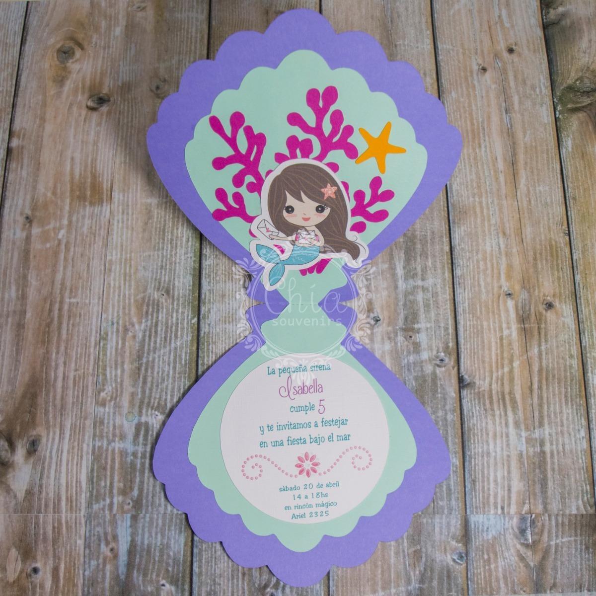 Tarjeta Invitacion Cumple Almeja Princesa Sirena