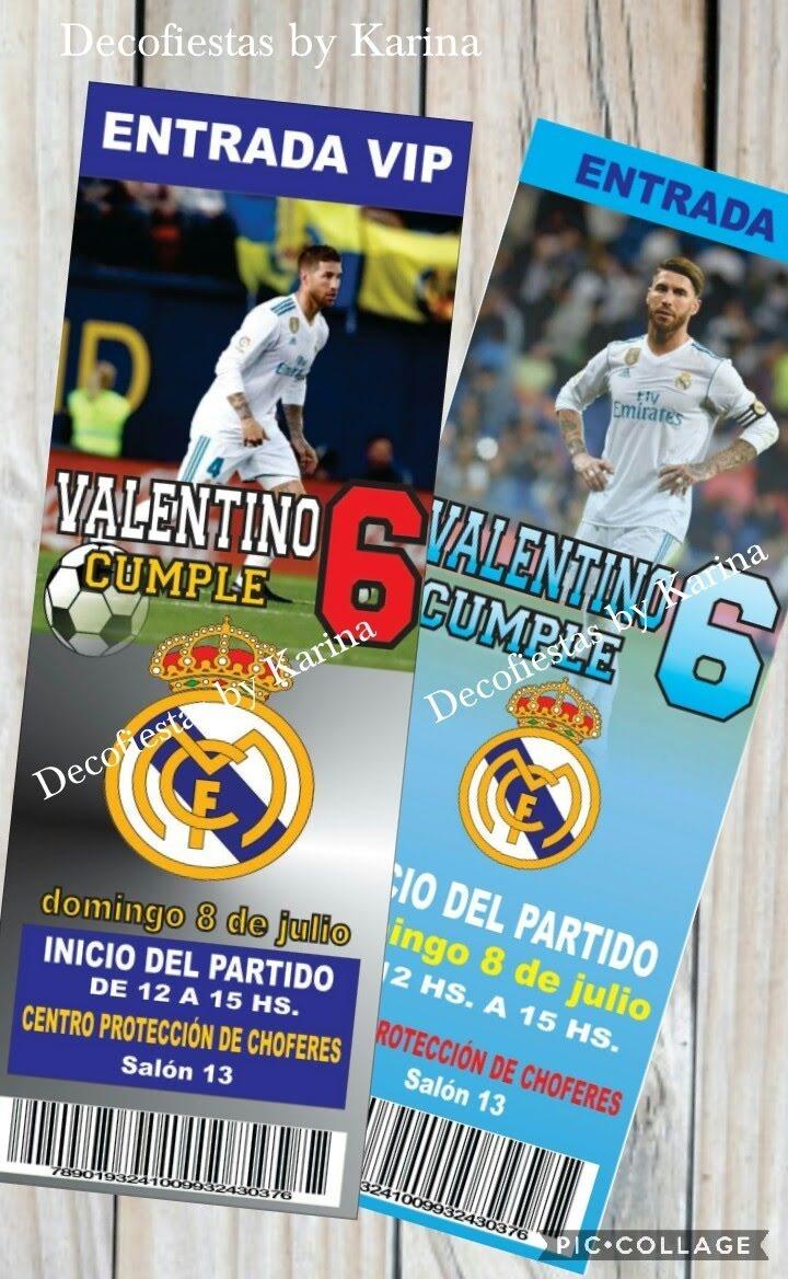 Tarjeta Invitacion Cumple Fútbol Real Madrid Barsa Peñarol