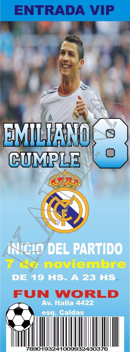 Invitacion Cumpleanos Real Madrid