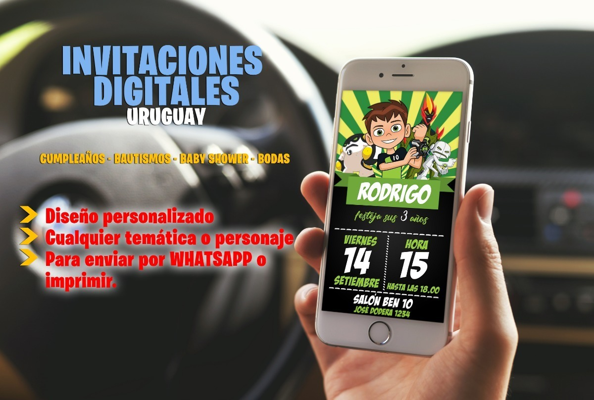 Tarjeta Invitacion Cumpleaños Digital Ben 10