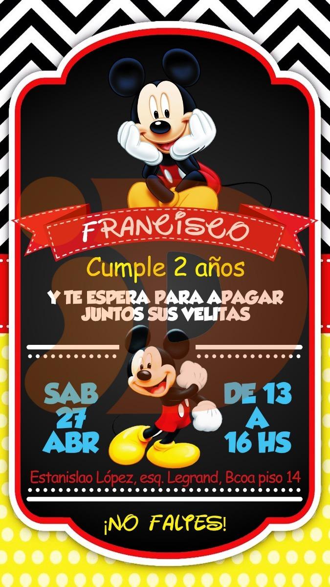 Tarjeta Invitacion Cumpleaños Digital Mickey Mouse Whatsapp