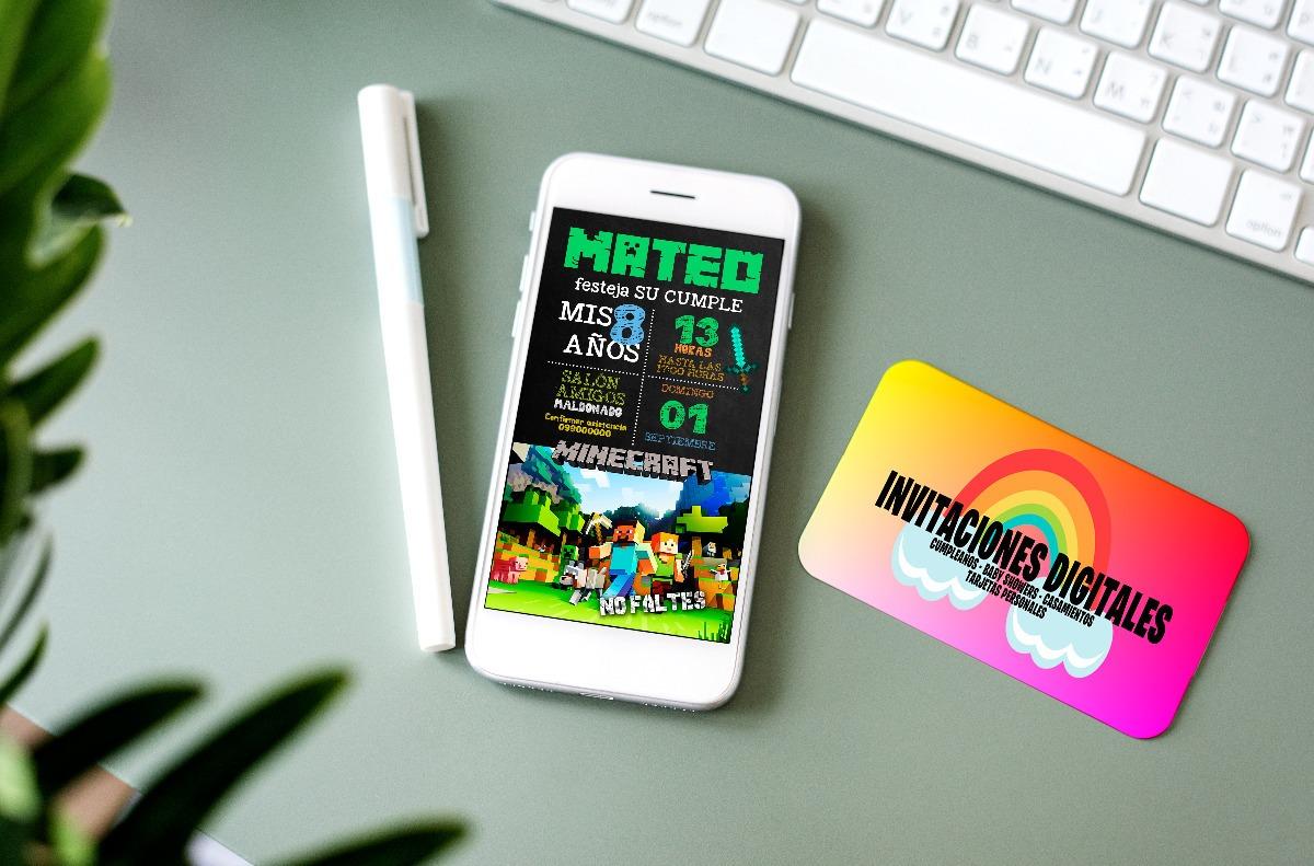Tarjeta Invitación Cumpleaños Digital Minecraft Whatsapp