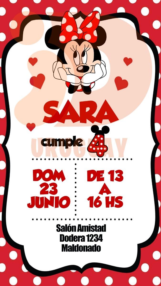 Tarjeta Invitacion Cumpleaños Digital Minnie Whatsapp