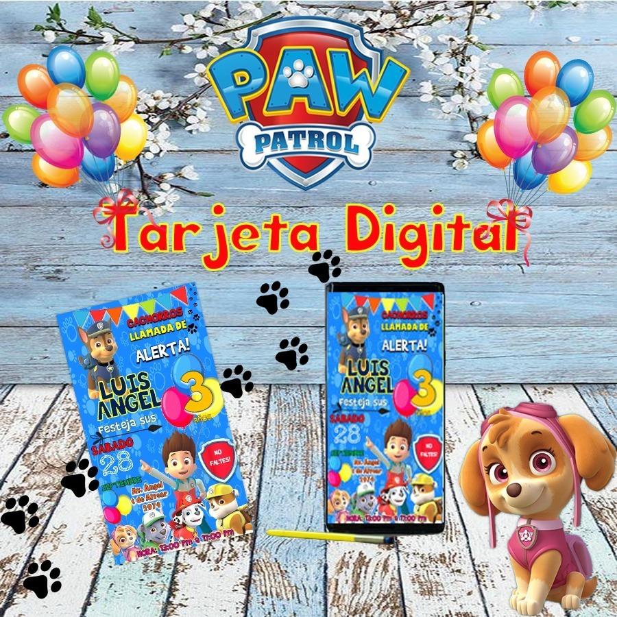 Tarjeta Invitación Cumpleaños Digital Pawpatrol Whatsapp