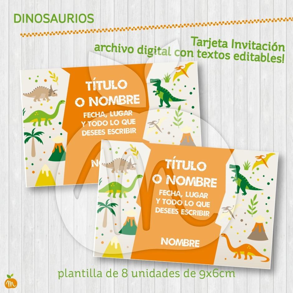 Tarjeta Invitación Cumpleaños Dinosaurios Textos Editables