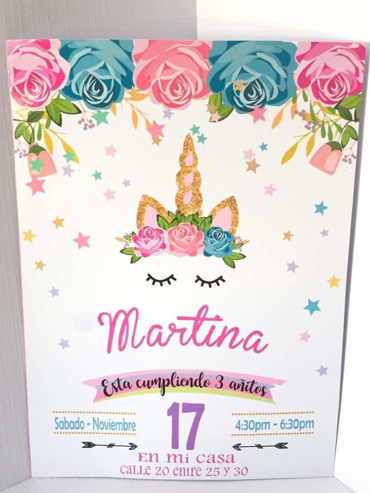 Tarjeta Invitación Cumpleaños Infantil Unicornio Minnie Coco