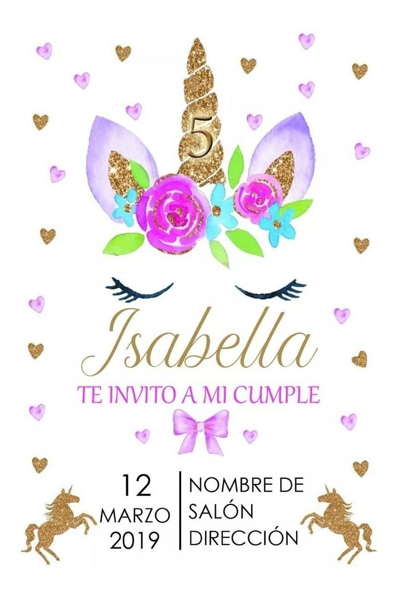 Tarjeta Invitación De Cumpleaños Unicornio Personalizado