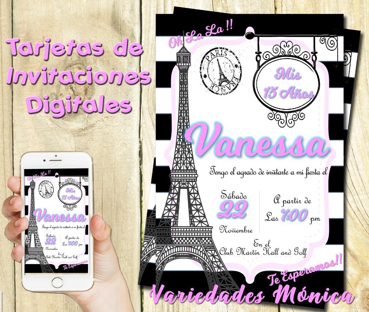 Tarjeta Invitacion Digital 15 Años Paris Cumpleaños