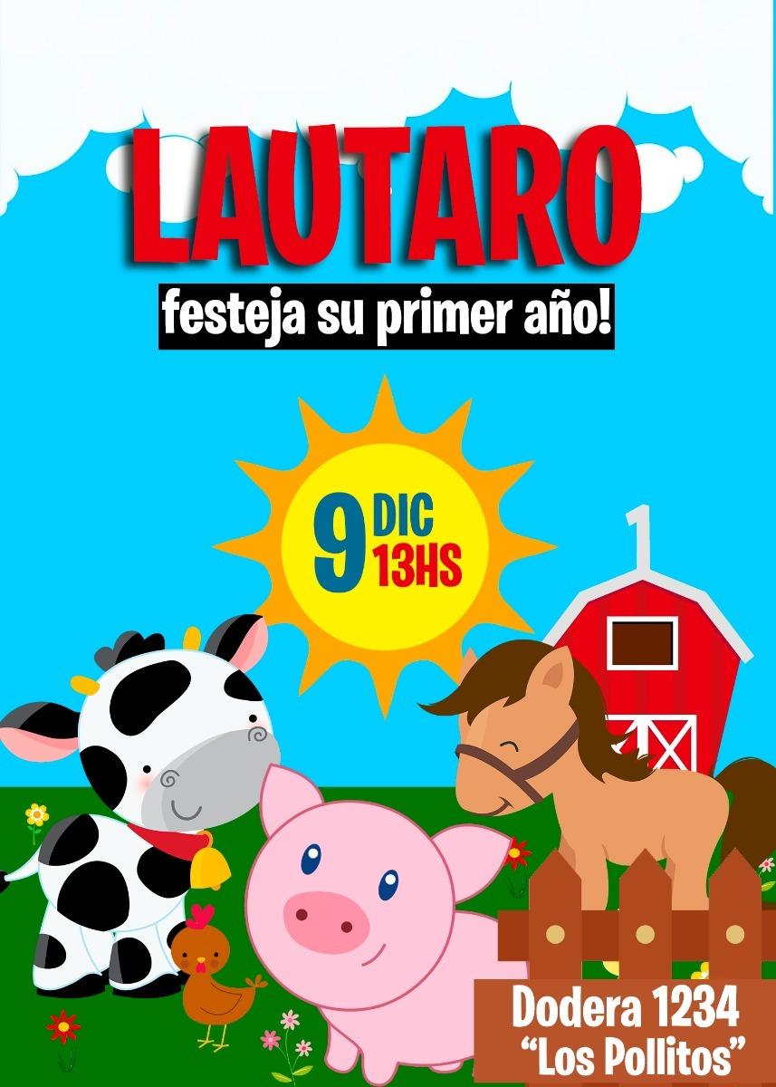 Tarjeta Invitacion Digital Animales De Granja Cumpleaños