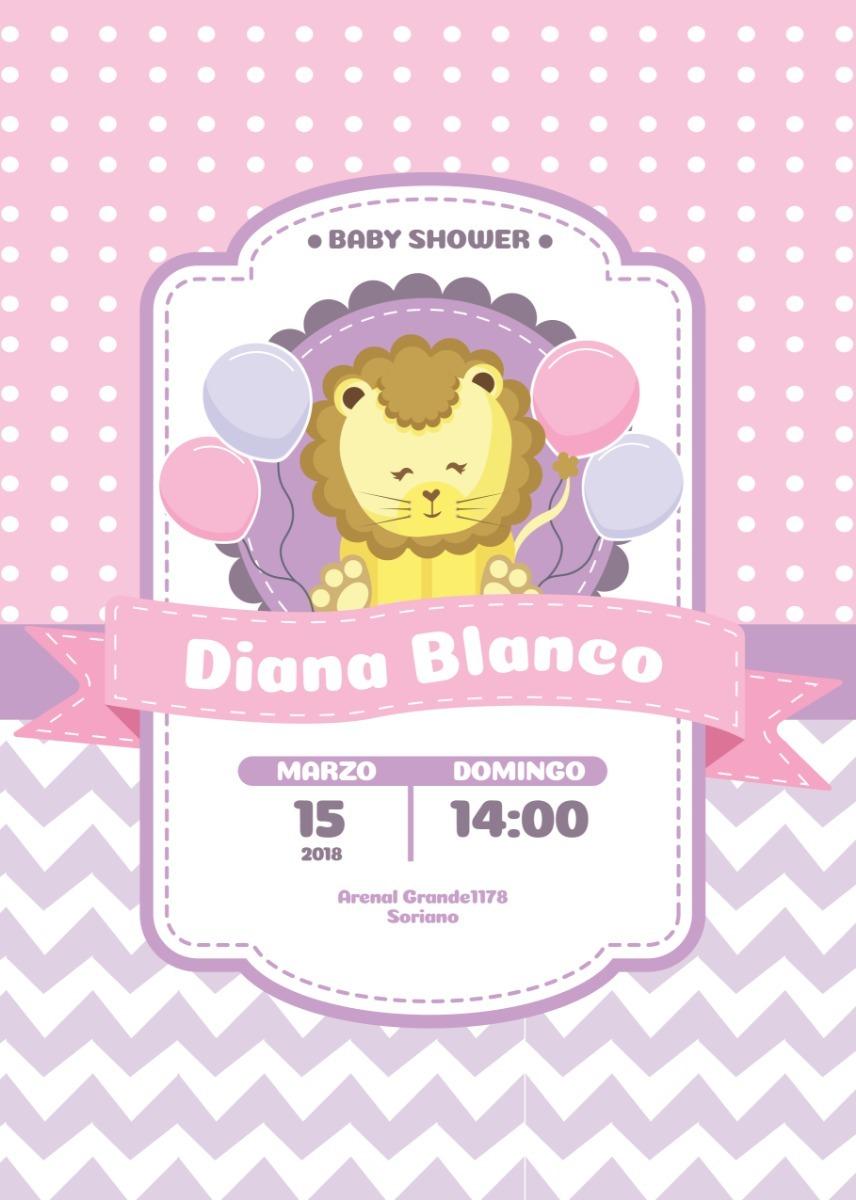 Tarjeta Invitacion Digital Baby Shower Niña Leon