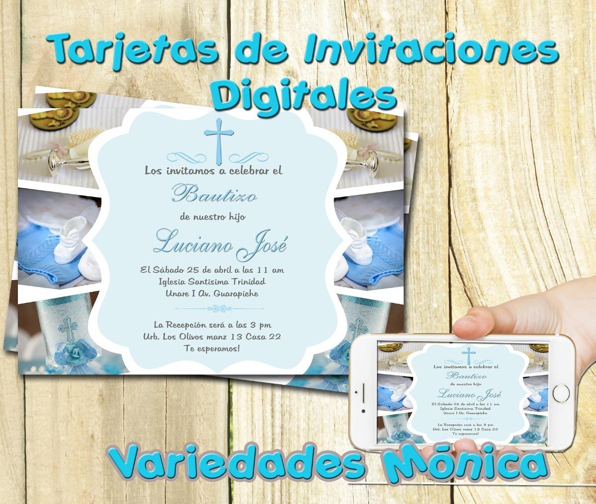Tarjeta Invitación Digital Bautizo 1era Comunión Angelito