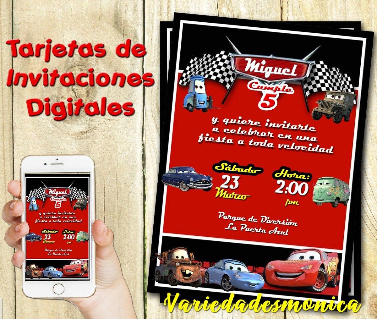 Tarjeta Invitacion Digital Cars Cumpleaños