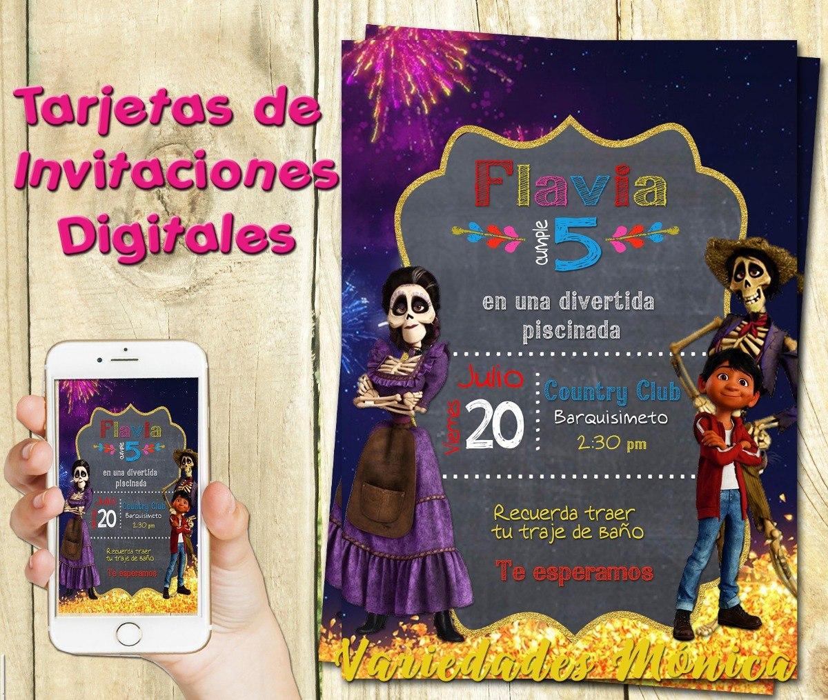 Tarjeta Invitacion Digital Coco Cumpleaños