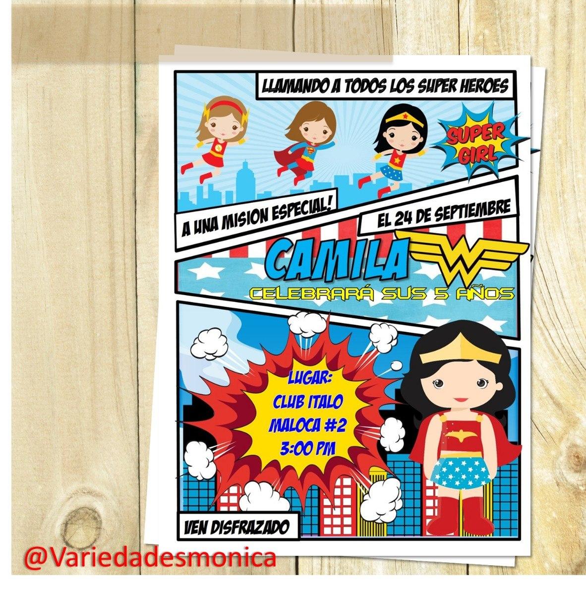 Tarjeta Invitacion Digital Comic Cumpleaños Super Heroe