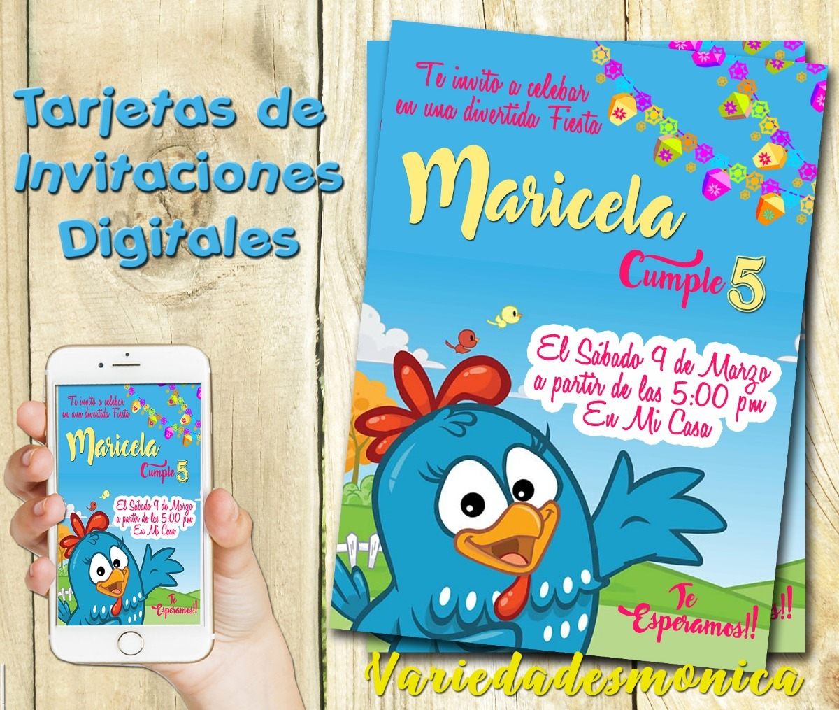 Tarjeta Invitacion Digital Gallinita Pintadita Cumpleaños