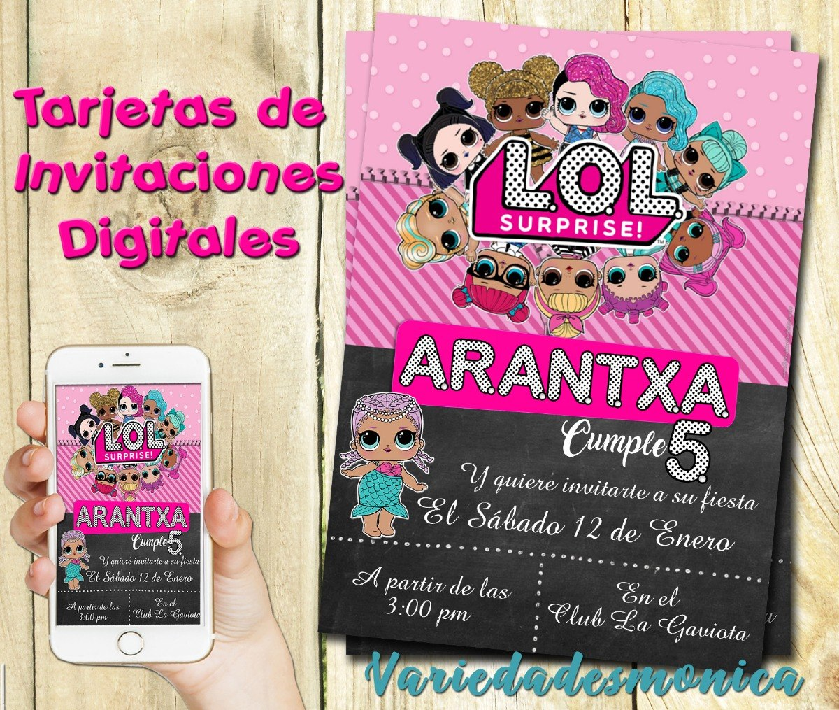 Tarjeta Invitacion Digital Lol Surprises L O L Cumpleaños