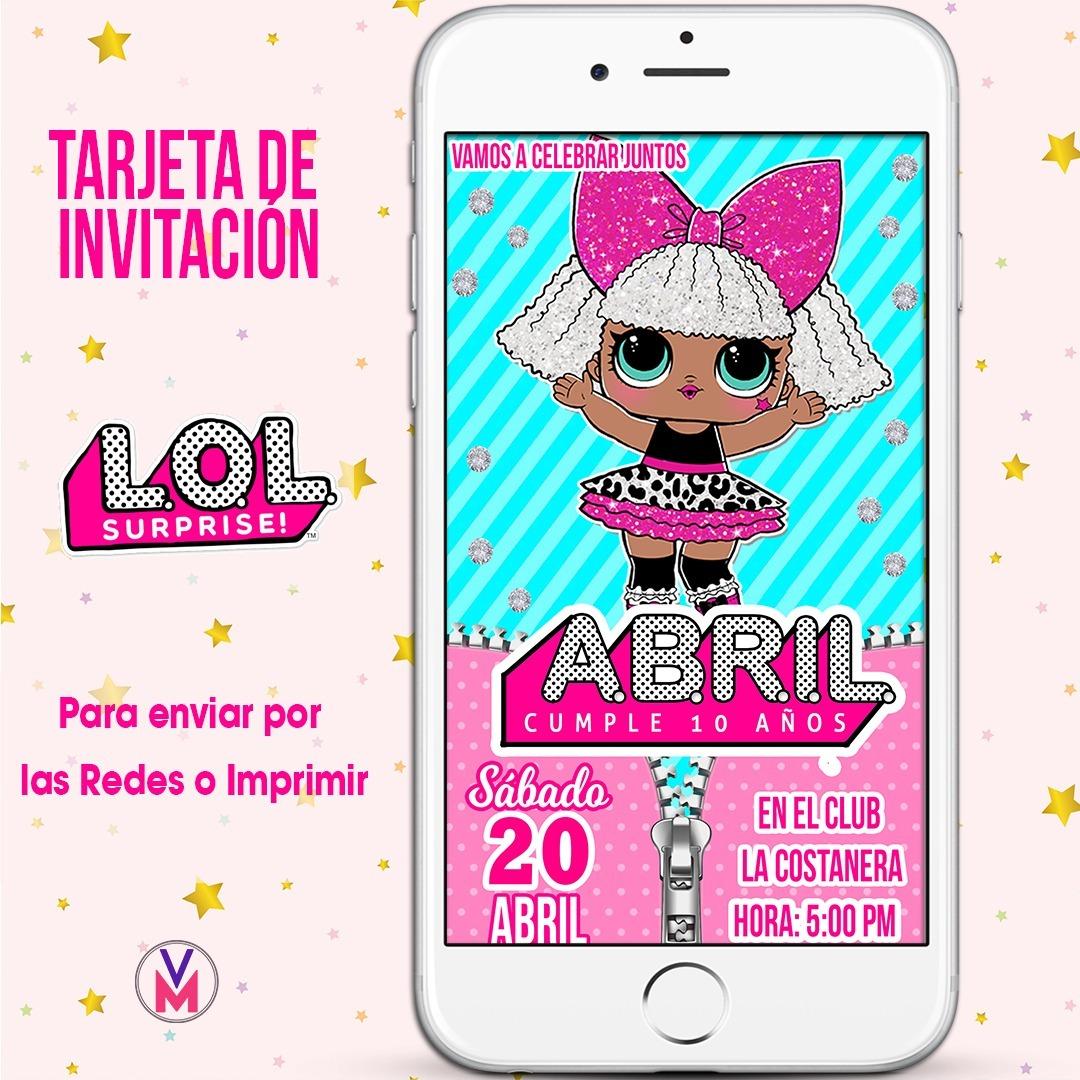 Tarjeta Invitacion Digital Lol Surprises L O L Glitter