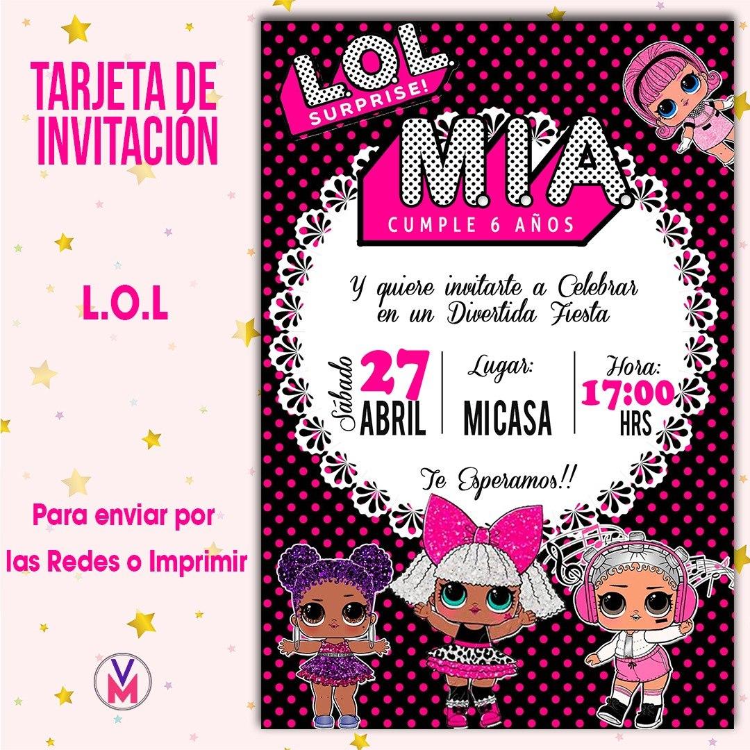 Tarjeta Invitacion Digital Lol Surprises L O L Nueva Colecci