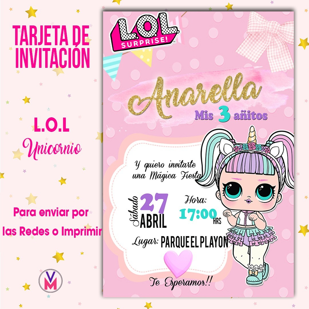 Tarjeta Invitacion Digital Lol Surprises L O L Unicornio