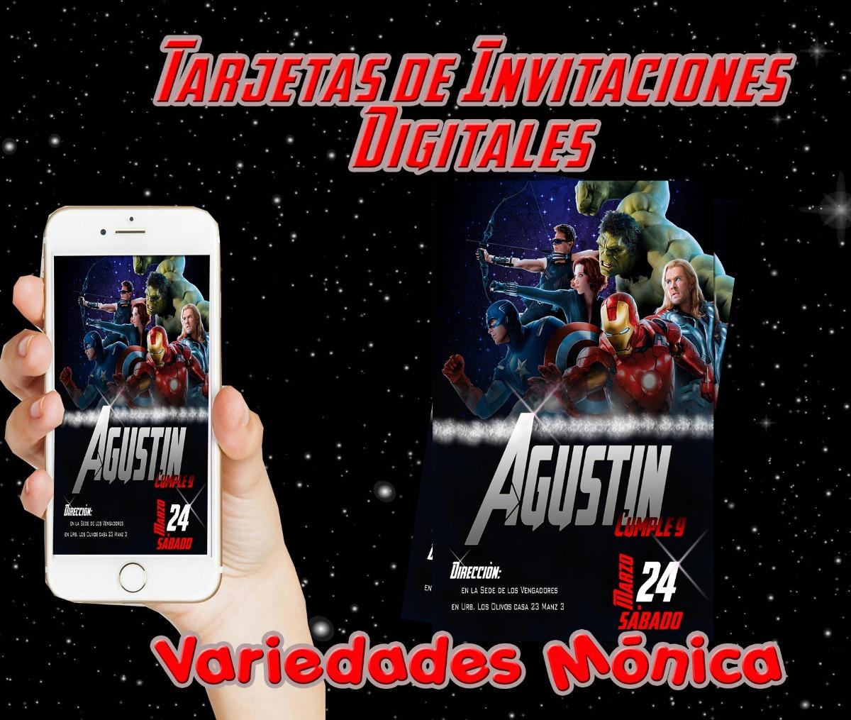 Tarjetas De Invitación Los Vengadores 6 Unidades Marvel