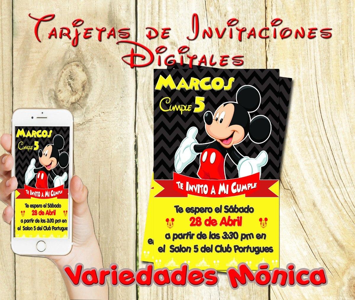 Tarjeta Invitacion Digital Mickey Mouse Cumpleaños