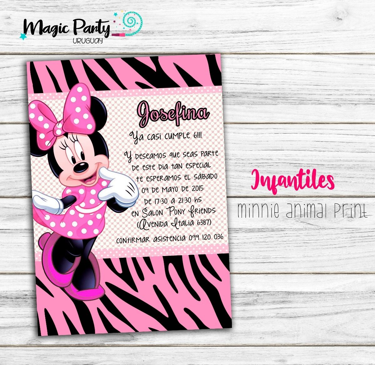 Tarjeta Invitación Digital Minnie Mouse