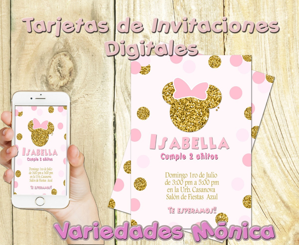 Tarjeta Invitacion Digital Minnie Mouse Dorado Gold Cumpleañ