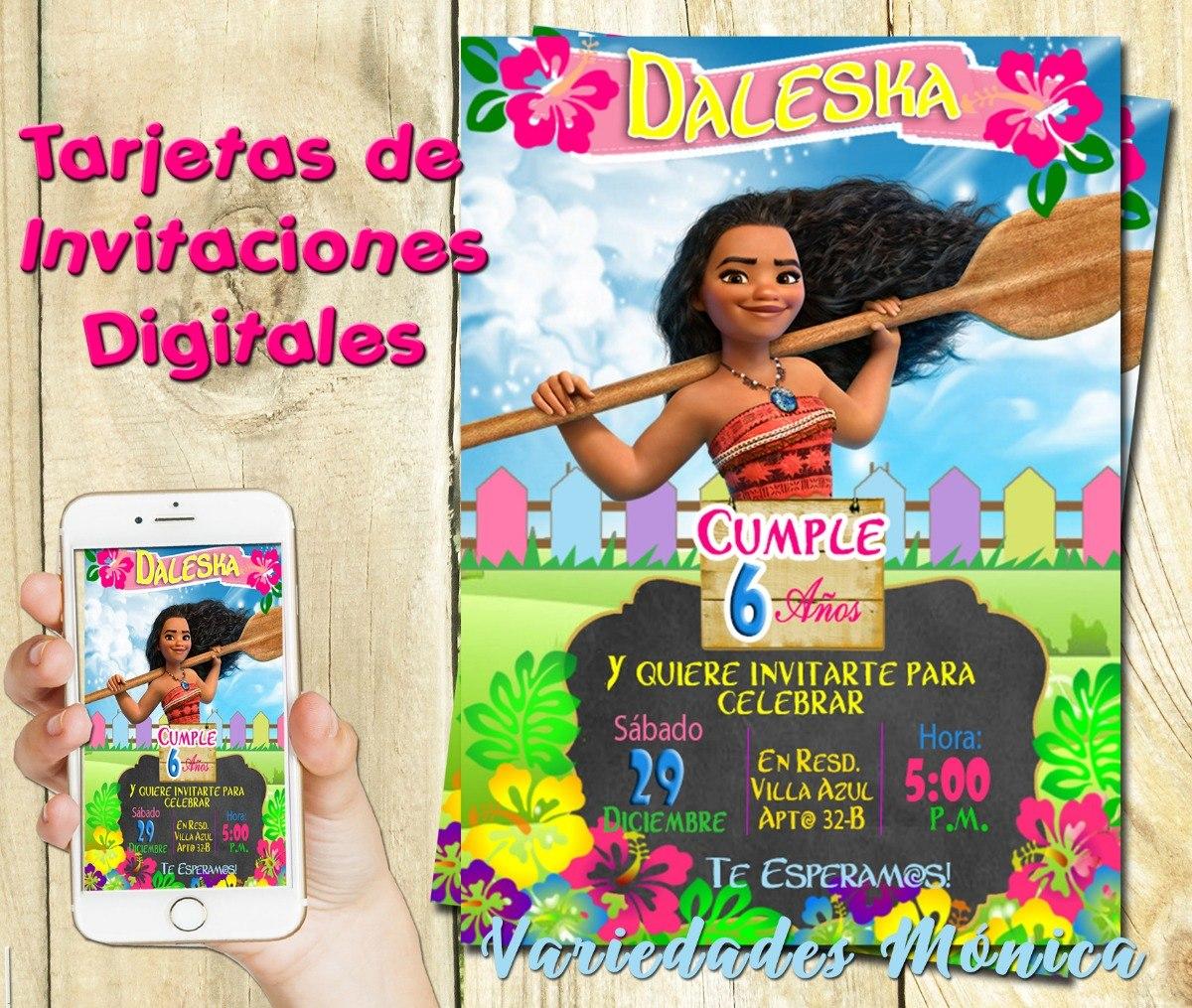 Tarjeta Invitacion Digital Moana Cumpleaños Baby Shower