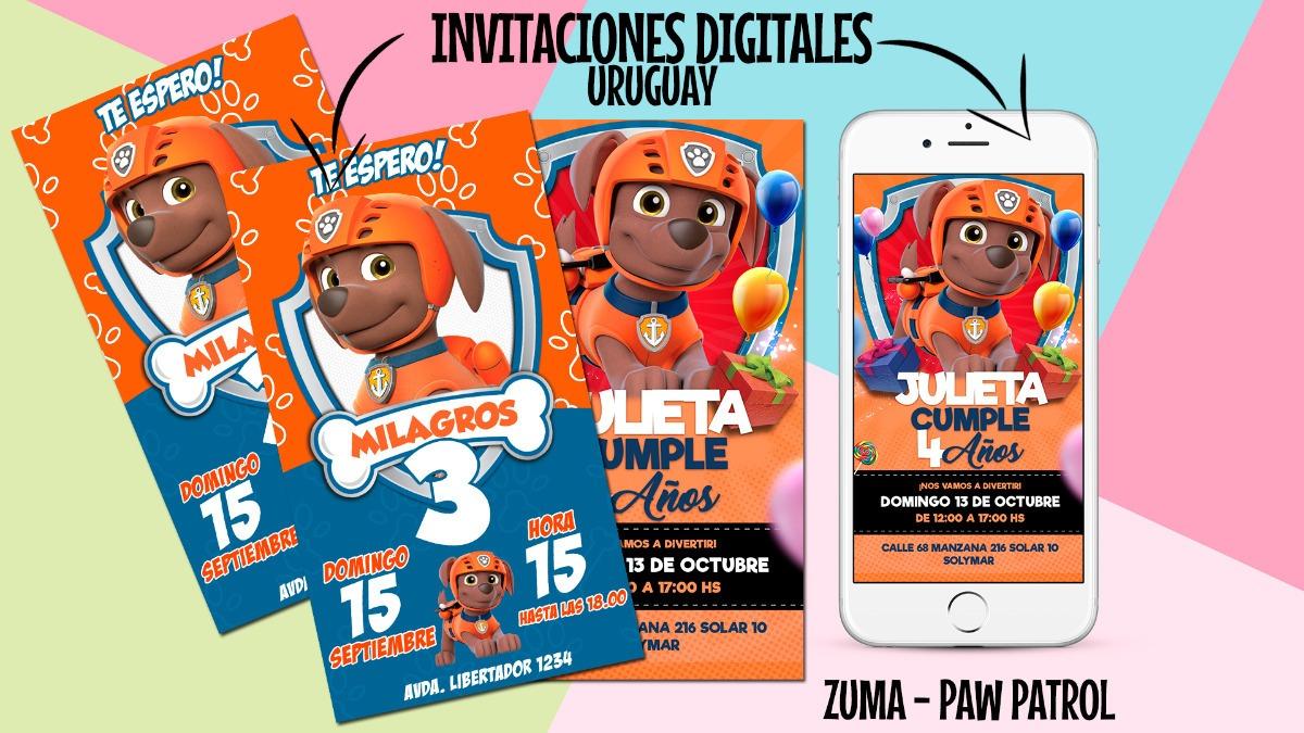 Tarjeta Invitacion Digital Paw Patrol Cumpleaños