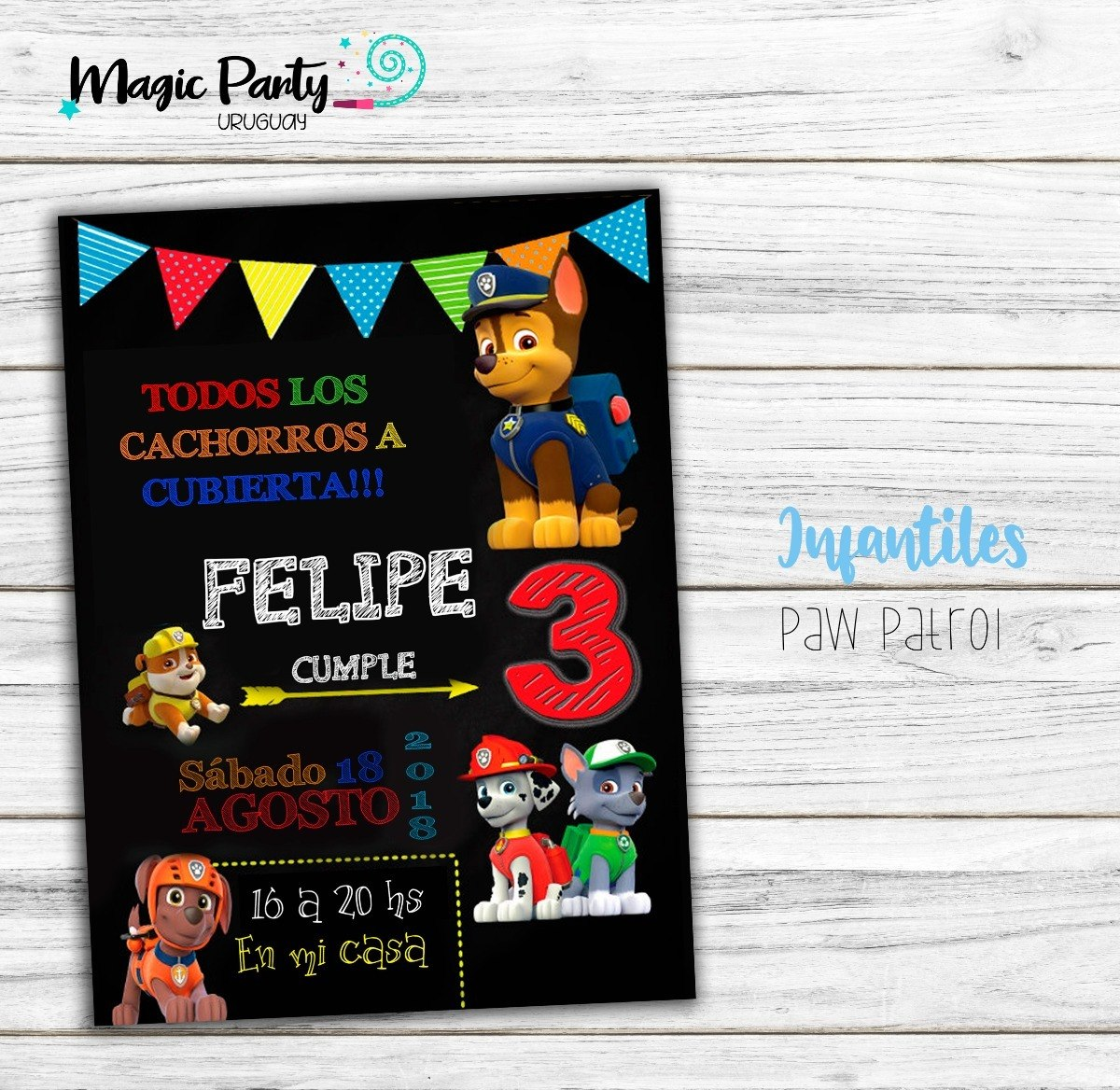 Tarjeta Invitación Digital Paw Patrol Patrulla Canina