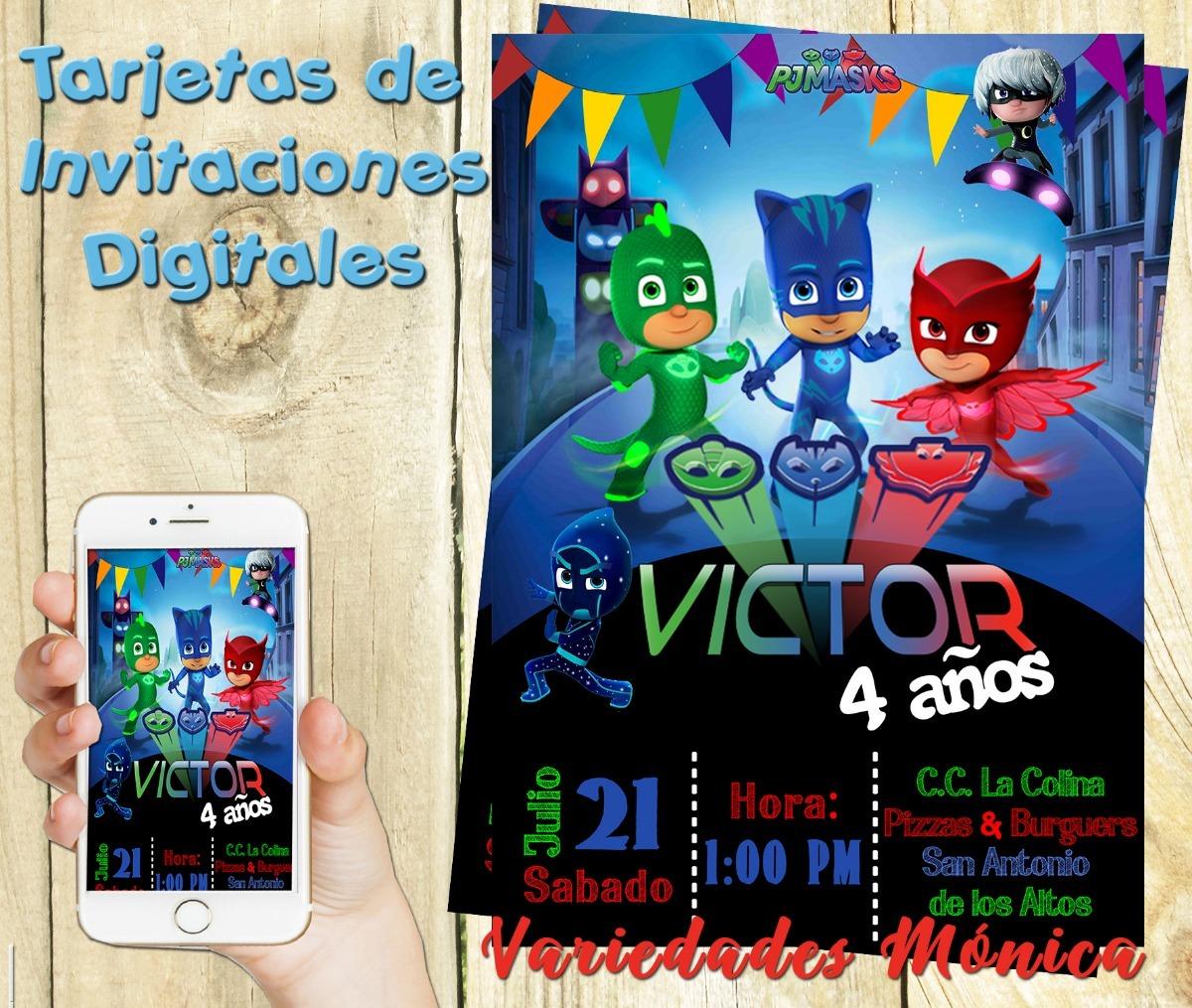 Tarjeta Invitacion Digital Pj Mask Heroe En Pijama Cumpleaño