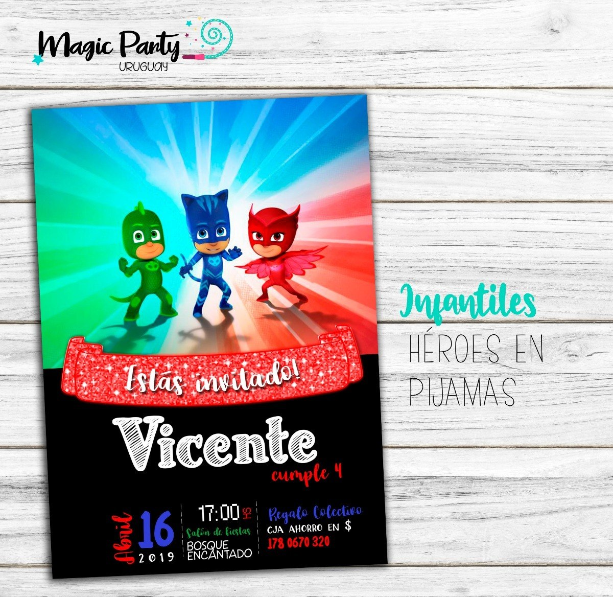 Tarjeta Invitación Digital Pj Mask Heroes En Pijamas