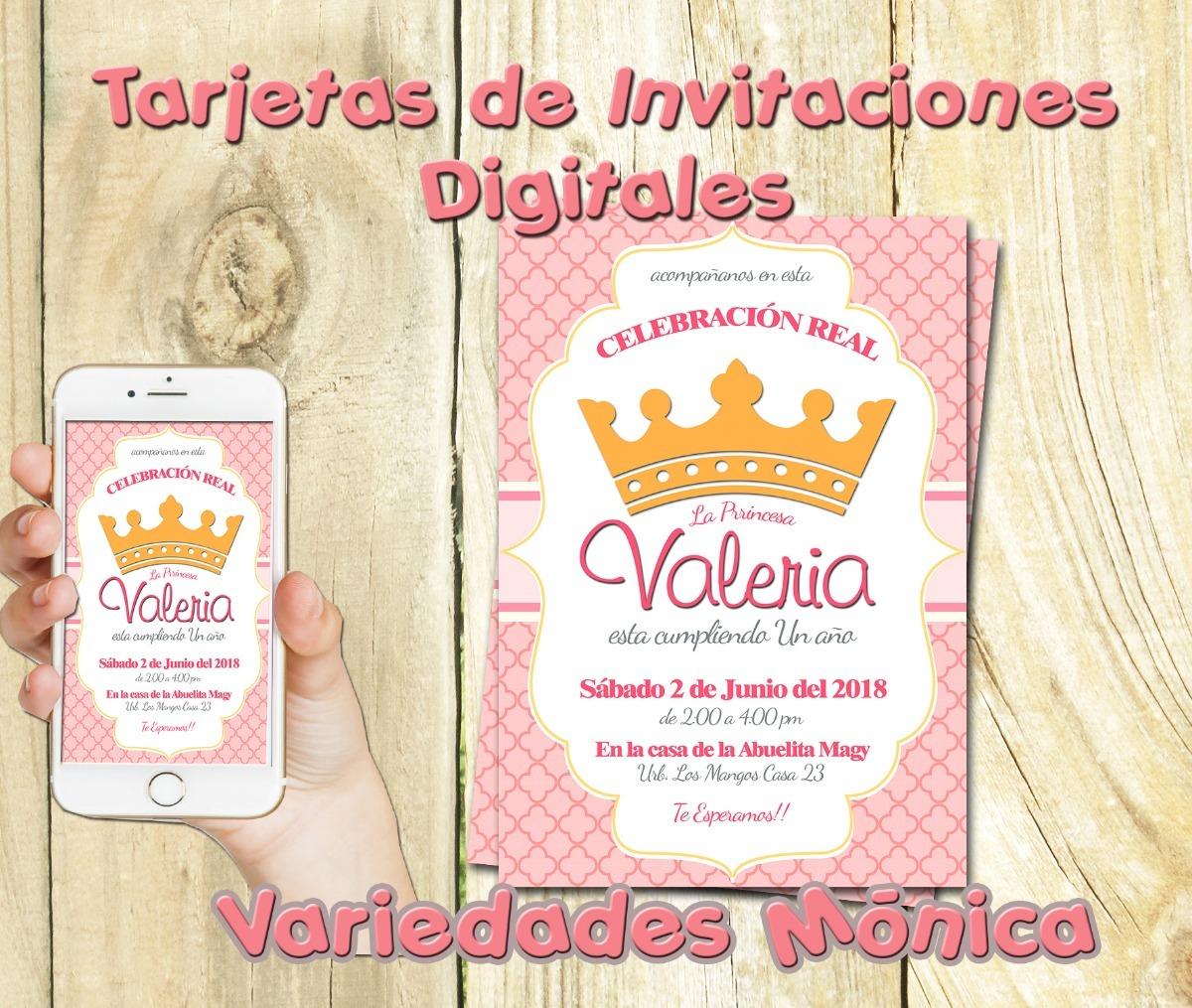 Tarjeta Invitación Digital Princesas Princess Cumpleaños Bab