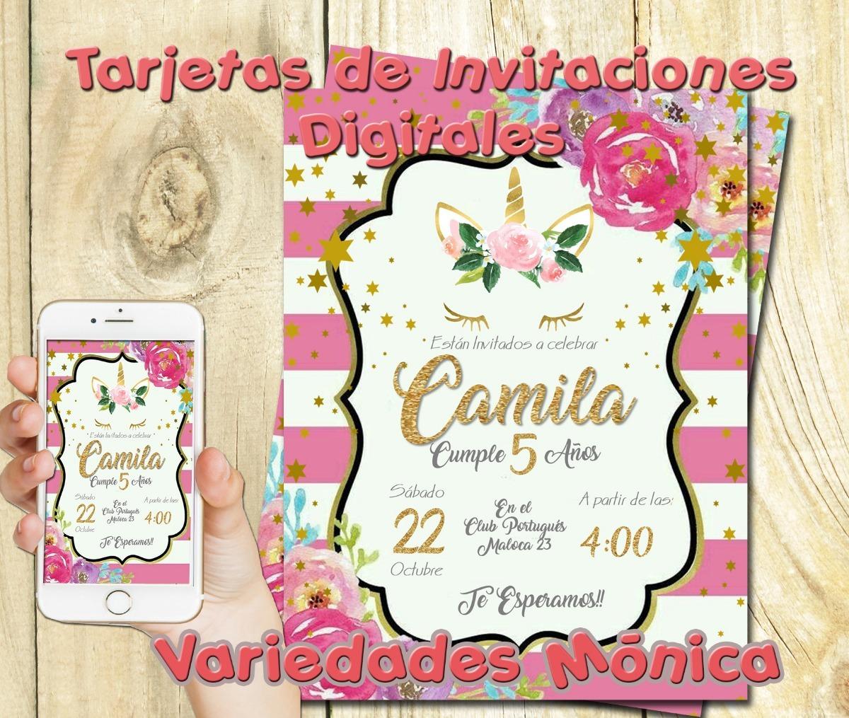 Tarjeta Invitación Digital Unicornio Dorados Cumpleaño