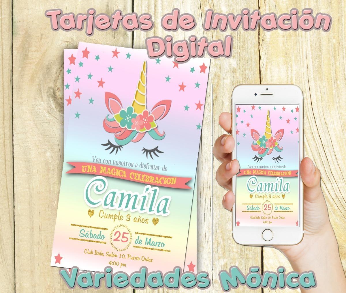 Tarjeta Invitación Digital Unicornios Cumpleaños Baby Shower