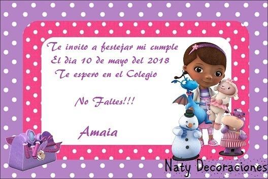 Tarjeta Invitacion Doctora Juguetes