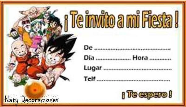 Tarjeta Invitación Dragon Ball Z Modelo 2