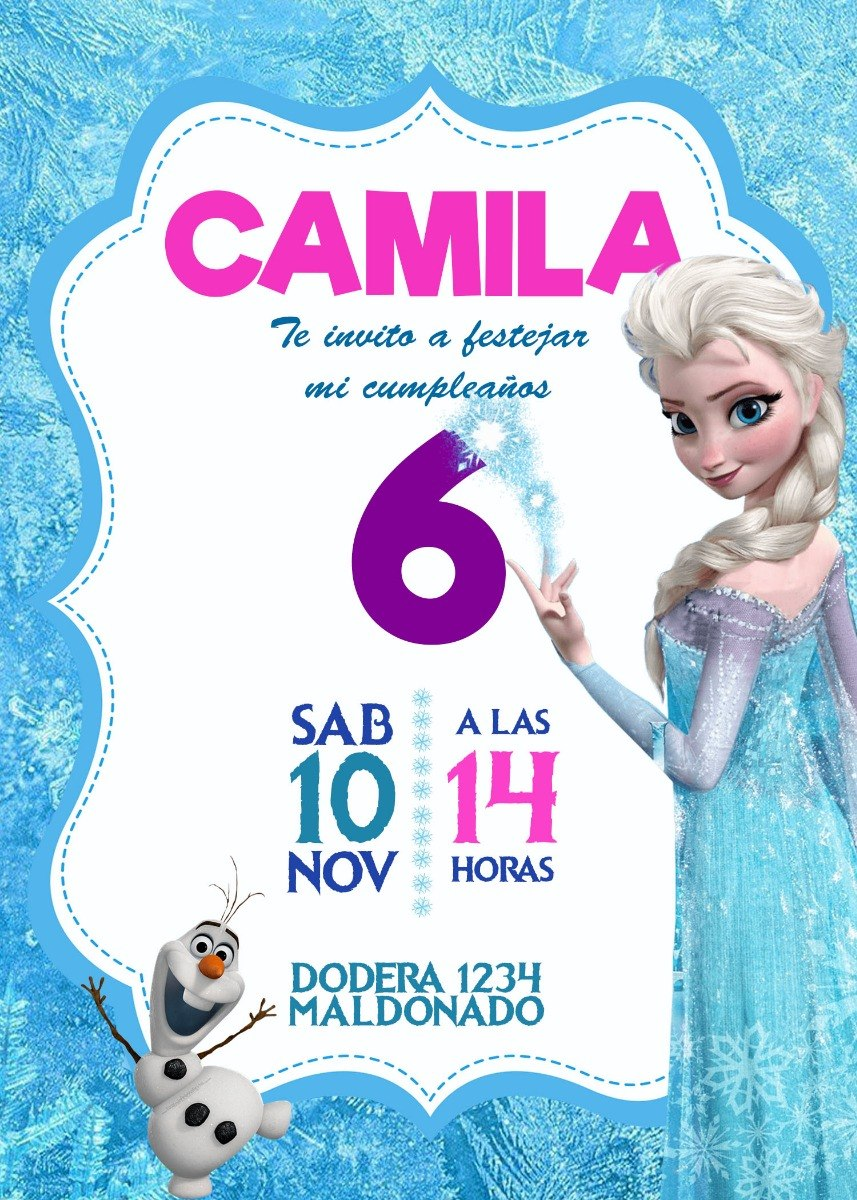 Tarjeta Invitacion Frozen Digital Cumpleaños $ 160,00 en Mercado Libre