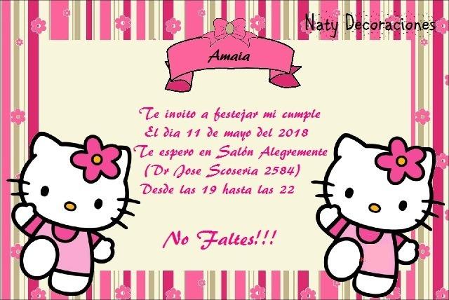 Tarjeta Invitacion Hello Kitty