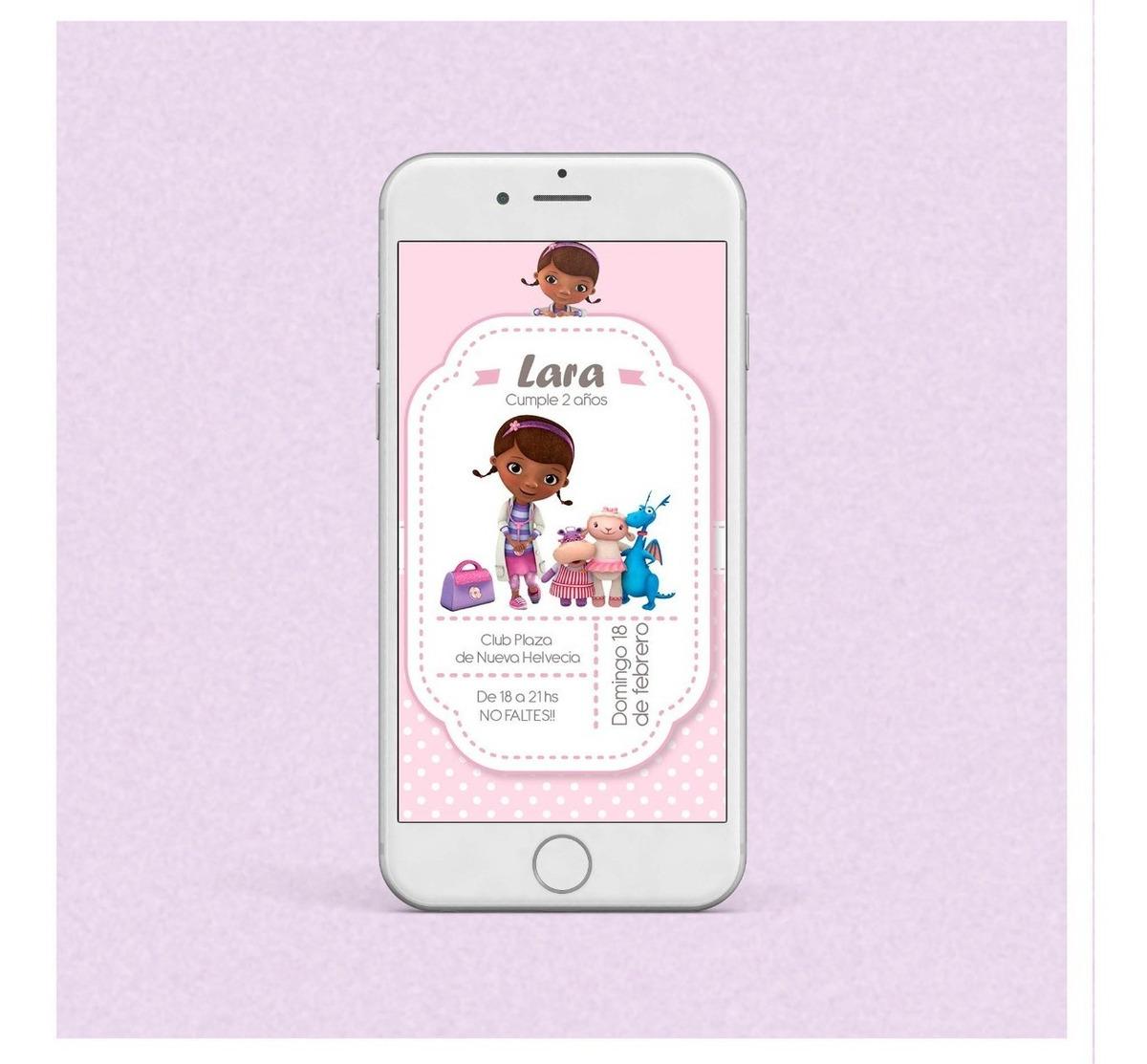 Tarjeta Invitación Infantil Digital Enviar Doctora Juguetes