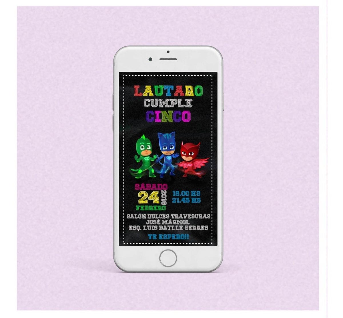 Tarjeta Invitación Infantil Digital Héroes En Pijamas Wapp