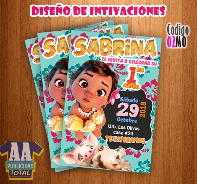 Tarjeta Invitación Infantil Digital Moana Bebe Maui Moana
